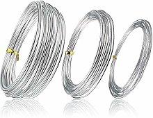 LUCY WEI 3 Pcs Rolls Silver Aluminum Wire,1mm 2mm