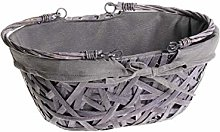 Ludi-Vin Oval Wicker Basket with Folding Handles