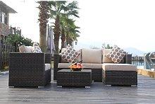 Luitwin Garden Furniture 5 Seater Rattan Sofa Set