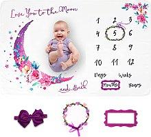 LUKA&LILY Baby Monthly Milestone Blanket Girl,