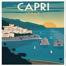 Lumartos, Vintage Capri Poster Contemporary Home