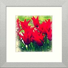 Lumartos, Vintage Floral Star Red Contemporary