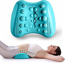 Lumber Massage Pillow Lower Back Stretcher - Massage for Chronic Lumbar Pain Relief Treatment - Helps with Spinal Stenosis Sciatica Herniated Disc and Neck Muscle Pain (Blue)