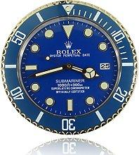 Luminous Mute New Blue Gold Rolex Wall Clock