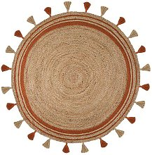 Lunara Jute Circle Istanbul Orange Circle 150cm