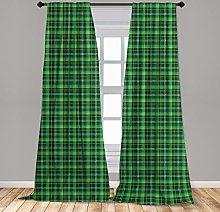 Lunarable Hunter Green 2 Panel Curtain Set,