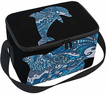 Lunch Bag Abstract Cute Dolphin Cooler for Picnic