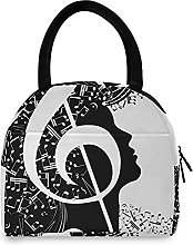 Lunch Bag, Abstract Music Notes Insulated Lunch