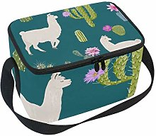 Lunch Bag Alpaca and Cactus Cooler for Picnic