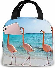 Lunch Bag Beach Flamingos Insulated Lunch Tote