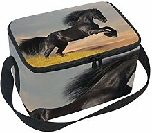 Lunch Bag Black Friesian Horse Gallop Cooler for