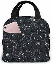 Lunch Bag Black Stargazers Star Texture Metallic
