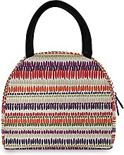 Lunch Bag, Boho Tribal Stripes Insulated Lunch Box