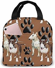 Lunch Bag - Bull Terriers and Paw Tote Handbag