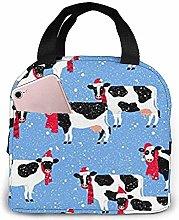 Lunch Bag - Christmas Animal Festive Cows Tote