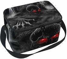 Lunch Bag Cool Skulls 3D Red Eyes Cooler for