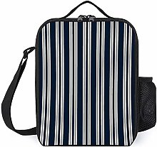 Lunch Bag Cooler Bag, Navy Blue White and Silver