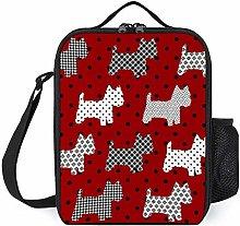 Lunch Bag Cooler Bag, Red with Black Polka Dots