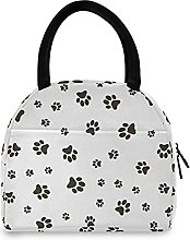 Lunch Bag, Dog Paw Footprints Insulated Lunch Box