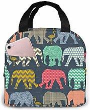Lunch Bag Elephant Flamingo Art Reusable Lunch Box