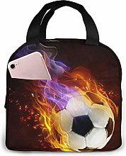 Lunch Bag Fire Football Insulated Lunch Tote