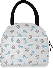 Lunch Bag, Fishbone and Paw Insulated Lunch Box