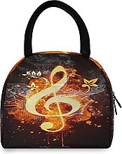 Lunch Bag, Floral Music Note Insulated Lunch Box