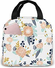 Lunch Bag Florals Peach Navy Blue Tote Bag