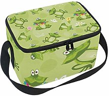 Lunch Bag Frogs Toads and Flower On Green