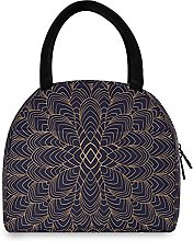 Lunch Bag, Golden Floral Pattern Insulated Lunch
