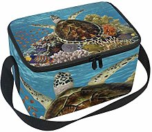 Lunch Bag Green Turtle Swimming Blue Ocean Cooler