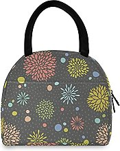 Lunch Bag, Grey Floral Pattern Insulated Lunch Box