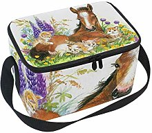 Lunch Bag Horse and Kitten On Flower Meadow Foal