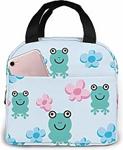 Lunch Bag Kawaii Navy Frog Flowers Tote Bag