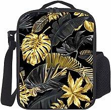 Lunch Bag Kinder Lunch Box Isoliert Gold Schwarz