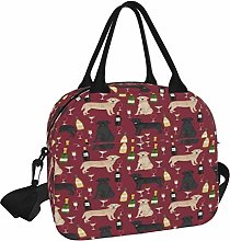 Lunch Bag,Labrador Wine Black and Yellow Labs Wine