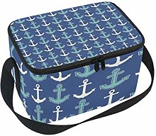 Lunch Bag Nautical Anchor Pattern Navy Blue Cooler