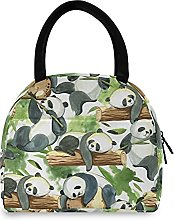 Lunch Bag, Panda Leaves Insulated Lunch Box Cooler