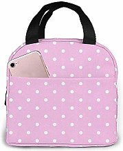 Lunch Bag Polka-Dots-Pink Reusable Lunch Box Lunch