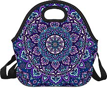 Lunch Bag Purple Floral Pattern Container Tote