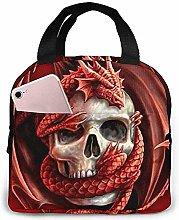 Lunch Bag - Red Dragon and Skull Tote Handbag