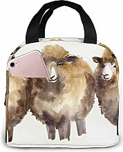 Lunch Bag Sheeps Watercolor Insulated Lunch Tote