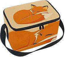 Lunch Bag Sleeping Fox Cooler for Picnic Shoulder