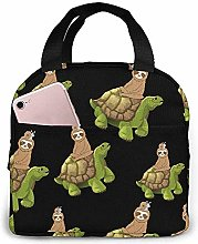Lunch Bag Sloth Sitting On Tortoise Reusable Lunch