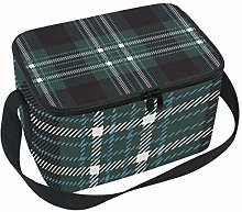 Lunch Bag Tartan Scottish Plaid Checkered Green