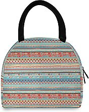 Lunch Bag, Tribal Ethnic Stripes Insulated Lunch