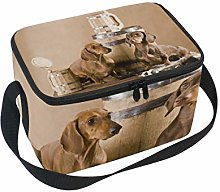 Lunch Bag Two Dachshund with Beer Cooler for