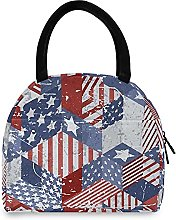 Lunch Bag, USA Flag Pattern Insulated Lunch Box