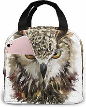 Lunch Bag Watercolor Cool Owl Head Insulated Lunch