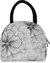 Lunch Bag, White Flower Pattern Insulated Lunch